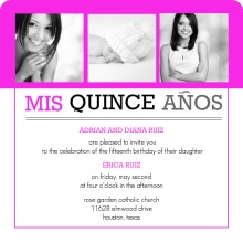 Bright Pink Modern Photo Quinceanera Invitation