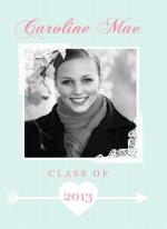 Graduation Announcement Trifold Blue Lace