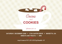 Cocoa and Candy Cane Saucer Holiday Party Invitation