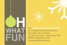 Yellow Oh What Fun Holiday Party Invitation