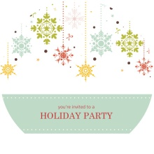 Colorful Snowflakes Holiday Party Invitation