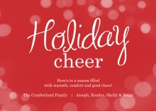 Red Bubbling Cheer Christmas Card