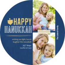 Blue and Gold Grunge and Dreidel Hanukkah Card