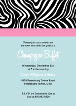 Zebra Stripes New Years Party Invitation
