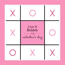 Hugs and Kisses Tic Tac Toe  Valentine's Day Party Invitation