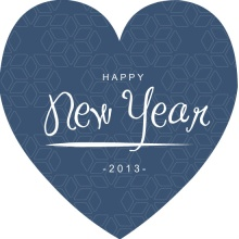 Heart Shaped Blue New Years Card