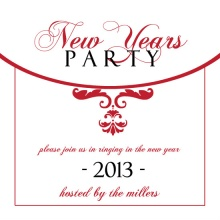 Elegant Red and White New Years Party Invites