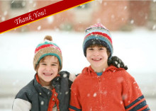 Red Ribbon Photo Thank You Card