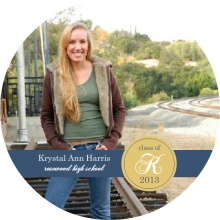 Graduation Announcement Monogram Gold