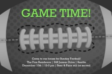Neon Game Time Football Party Invitation