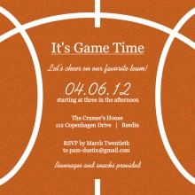 Burlap and Orange Basketball Invitation