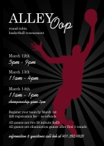 Alley Oop Radiant Silhouette Basketball Invitation