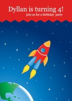 Rocket Ship Birthday Party Invitations