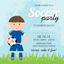 Blue Whimsical Character Soccer Party Invitation