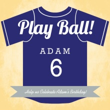 Blue Baseball Jersey Birthday Party Invitation
