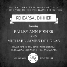 Black Rehearsal Dinner Baseball Party Invitation