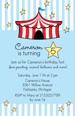Light Blue Striped Circus Tent Birthday Party Invitation