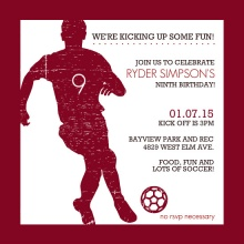 Red Silhouette Soccer Birthday Party Invitation