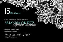 Elegant Floral Lace Quinceanera Invitation