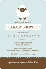 Blue and Brown Sheep Boy Baby Shower Invite