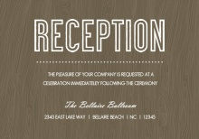 Wood Grain Rustic  Reception Enclosure Card