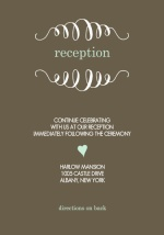 Mint and Brown Soft Stripes  Reception Card