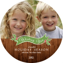Woodgrain Circle Holiday Photo Card
