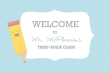 Blue and Yellow Pencil Teachers Welcome Postcard