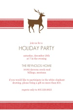 Reindeer Red Stripe Holiday Party Invitation