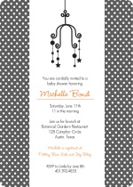 Elegant Black Dots with Mobile Boy Baby Shower Invite