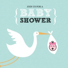 Teal Stork  Girl Baby Shower Invite