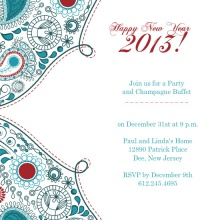 Paisley New Years Party Invitation