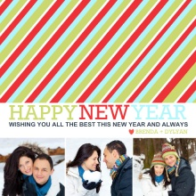 Bold Stripes Happy New Year Photo Card
