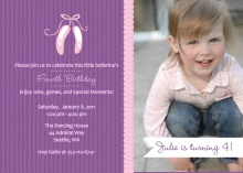 Ballerina Slippers Pink and Purple Kids Birthday Invitations