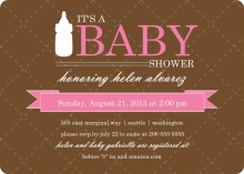 Pink and Taupe Quilted  Girl Baby Shower Invite