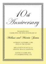 10th Anniversary Yellow and White Vintage  Anniversary Invite