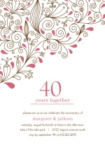 Pink Floral 40th Anniversary Party Invitation