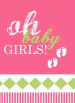 Pink and Green Oh Baby Girls Twin Announcement