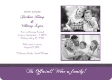 Purple Brother and Sister Photo Adoption Party Invitation