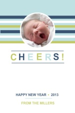 Modern Blue and Green Stripes New Years Photo Card