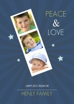 Blue Photo Strip New Years Greeting Card