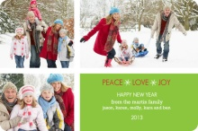 Green Multiphoto New Years Greeting Card