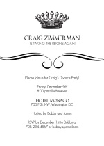 King's Crown Divorce Party Invitation