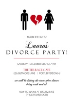 Broken Red Heart Divorce Party Invitation
