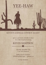Yee-Haw Cowboy Divorce Party Invitation