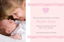 Soft Pink Photo Sibling Birth Announcement 