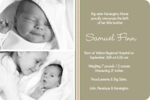 Green Photo Sibling Baby Announcement
