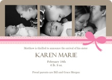 Pink Ribbon Three Family Photo Birth Announcement