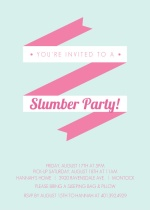 Mint and Pink Modern Banner Slumber Party Invitation