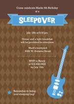 Blue and Brown Guitar Hero Slumber Party Invitation